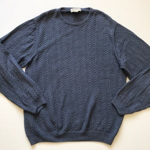 John W. Nordstrom cable knit blue sweater large